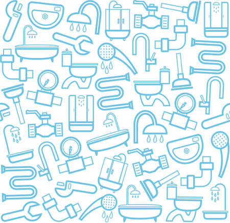 Plumbing and plumbing tools, white background. Blue line icons of plumbing and plumbing tools on a white background. Vector flat background.