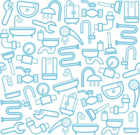 Plumbing and plumbing tools, white background. Blue line icons of plumbing and plumbing tools on a white background. Vector flat background.