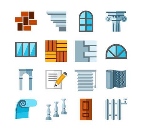 Bouw en reparatie, afwerkingsmaterialen, kleur iconen. Pictogrammen van de kleur, de bouw en afwerking materialen.