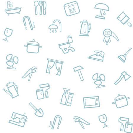 Artykuły gospodarstwa domowego, w domu, w tle, bez szwu, biały. Wektor szwu z liniowych ikon artykułów gospodarstwa domowego. Ilustracje wektorowe