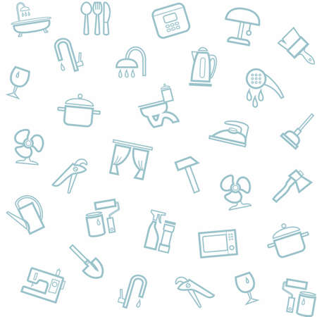 household goods: Household goods, home, background, seamless, white. Vector white seamless pattern with linear icons of household goods.