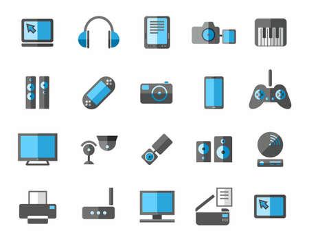 plate camera: Icons photo and video equipment, non-ferrous, grey, blue.Colored flat icons photo and video equipment, audio equipment and computers. Grey and blue color on a white background. Illustration