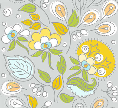 Seamless gray pattern, yellow flowers, white berries. Seamless pattern with yellow flowers, white berries and seeds, blue, green leaves on a gray background. For printing on paper, fabric and decoration. Illustration