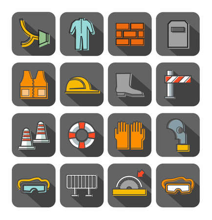 lugs: Occupational safety, badges, contour, color, gray background. Vector flat icons with protective clothing and items of human security. Color linear image on a gray background with shadow.