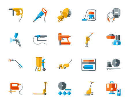 Building tools and supplies, color icons. Vector colored flat image equipment for construction and renovation on a white background.