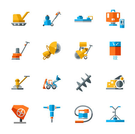 sander: Equipment for working with concrete, construction equipment, icon color. Colored flat vector image of construction equipment and tools on white background.