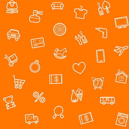 Background, seamless, orange, product categories, online store. Seamless orange background with white line icons of the categories of goods online store. Vector.
