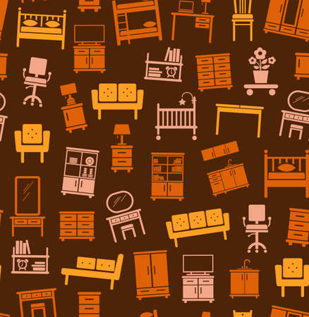 bunk bed: Furniture for house, background, seamless, brown. Vector flat background with images of upholstered and Cabinet furniture. Yellow, orange and pink image on a brown background.