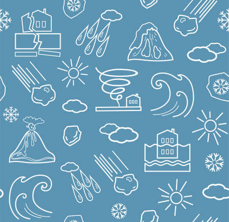 natural disasters: Natural disasters and weather conditions, seamless gray-blue background. Vector background with linear icons of natural disasters and the weather. White on gray-blue background.