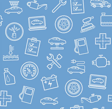 gas radiator: Repair and maintenance of vehicles, seamless gray-blue background. Vector flat background with drawings of services an auto repair shop. White, linear image on a light blue background. Illustration