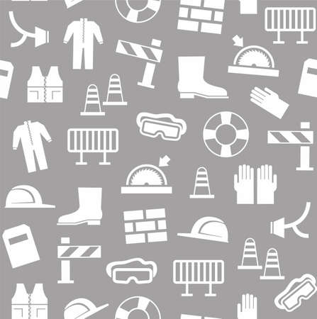 lugs: Occupational safety, personal security, background, seamless, gray.White flat icons of protective clothing and protective items on the grey background. Vector background.