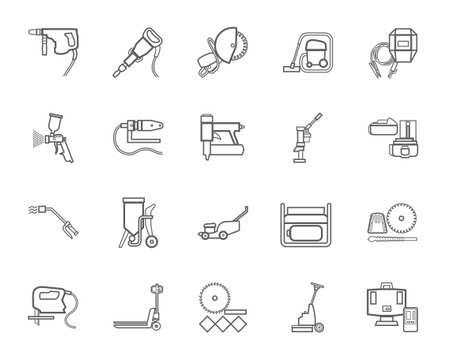 Les outils de construction, consommables, icônes, contour, monochrome. Vector, dessins gris contour de l'équipement de construction et de rénovation sur un fond blanc.