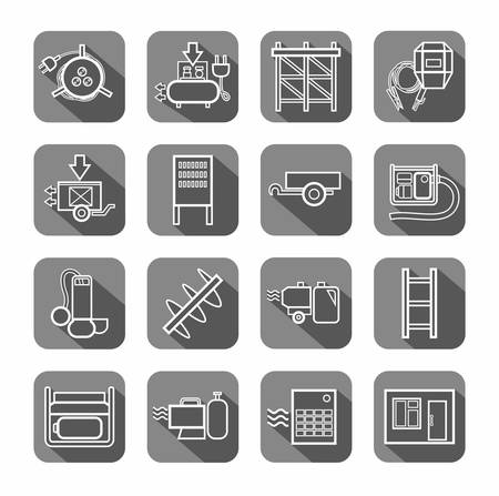 switchboard: Electric equipment and construction equipment, contour icons, gray. Vector, white linear image electric, gas, and construction equipment on a gray background with shadow.