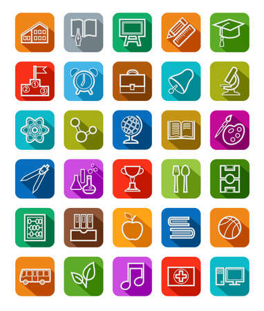 solid color: Education, icons, linear, white outline, solid color. Study in school, College, University, vector icons. White, linear image on a colored background with a shadow.