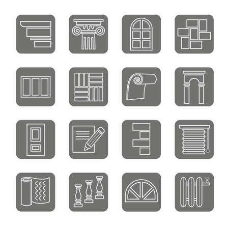 Pictogrammen, reparatie, bouw, gebouw, grijs, contour, grijze achtergrond. De pictogrammen voor wat betreft vernieuwing en bouw, wit overzicht op een grijze achtergrond. Eén kleur, plat. Voor drukwerk, infographics en websites.