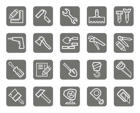 stonemason: Icons, workers and construction tools, the gray background. Construction tools, white contour drawing on a grey background. Icons for websites and print. Illustration