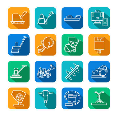 sander: Equipment for working with concrete, contour icons, colored. Vector, the linear image of construction equipment. White figures on a colored background with a shadow.