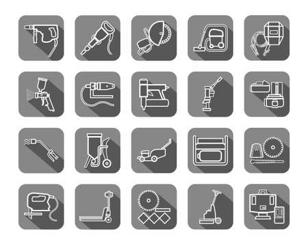 Construction tools, consumables, icons, contour, gray. Vector, white contour drawings of equipment for construction and renovation on a gray background with shadow. 向量圖像