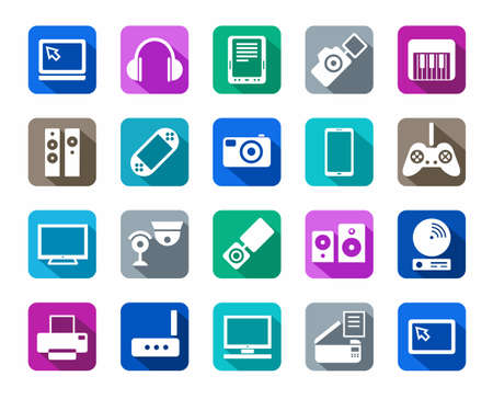 Icons, photo & video equipment, audio equipment, a colored background. White icons, photos, video, audio and communications on a flat background. For websites, print and infographics.