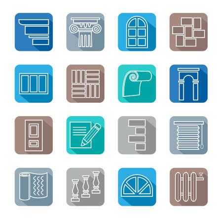 Iconen, reparatie, bouwmaterialen, decoratie materialen, wit overzicht, gekleurde achtergrond. Witte pictogrammen met beelden van de bouw-en afwerkingsmaterialen. Gekleurde achtergrond met schaduw. Voor websites en print.