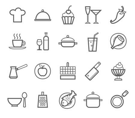 Signs, icons, kitchen, restaurant, cafe, food, drinks, utensils, contour drawing. Contour icons on the topic of cooking. Home cooking, restaurant, food, drinks, kitchen utensils. Grey outline on Ben background. For websites, print and infographics.