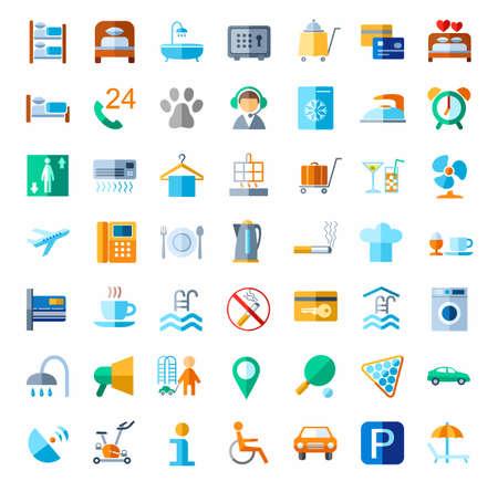 Hotel, servicios de hotel, iconos de colores. Vector iconos de servicios de hotel. Color, imágenes planas sobre un fondo blanco.