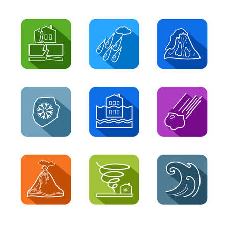 natural disasters: Natural disasters, contour icons, colored. Vector linear icons of natural disasters and cataclysms. White image on a colored background with a shadow. Flat style. Illustration