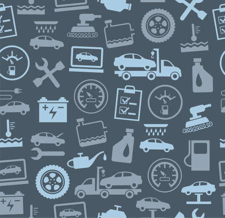 Repair and maintenance of vehicles, seamless background, grey, colour. Vector flat background with drawings of services an auto repair shop. Gray image on a dark gray background.