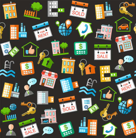 sell car: Property and real estate services, black background. Colored flat icons for real estate and real estate services on a black background. Vector seamless background.