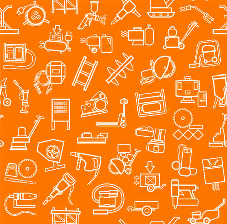 Construction equipment and tools, seamless pattern, orange, in outline. Vector background with images of equipment for construction and repair. White, linear pictures on the orange box. Stock Illustratie