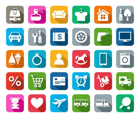 Icons, online store, categories of products, colored background, shadow. Colored flat icons categories of goods online store.