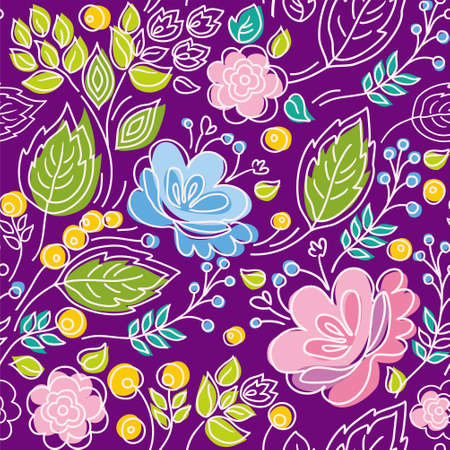 Seamless violet pattern, blue, pink flowers, green leaves, white outline. Floral seamless pattern with blue and pink flowers, green leaves and yellow berries on a purple background. For printing and decorating. White thin, contour drawing on a colored bac