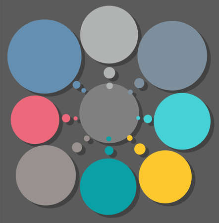 depend: Scheme, color, eight circular sectors for text, infographics. Infographic, diagram of nine colored, round frame for text.