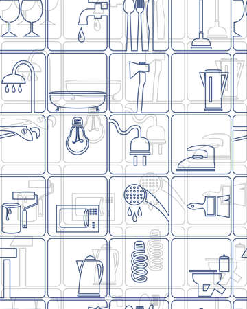 household goods: Tools and household goods, seamless background, white, vector. Background of the icons building tools, sanitary ware and household goods. For printing and textiles Illustration