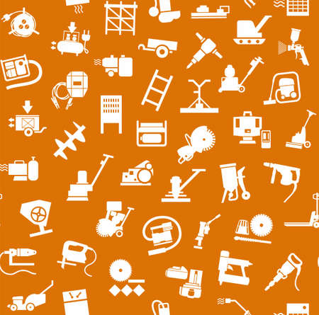 Construction equipment and tools, seamless pattern, orange. Vector background with images of equipment for construction and repair. White, flat pictures on the orange box. Illustration