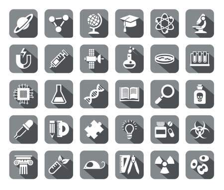 literature: Science, icons, grey, flat, vector. White icons on gray background with shadow. Different types of scientific activities. Illustration