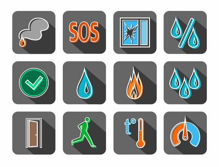 Alarm, fire detectors, humidity, motion, temperature, icons, colored, contour, gray. Color, contour image on a gray background with shadow. Vector clip art for sensors.