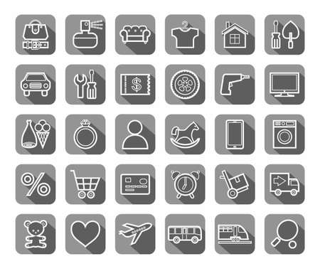 clothes rail: Purchase via the Internet, product category, icons, linear, vector. The white contour drawings on gray background with shadow. Vector clip art.