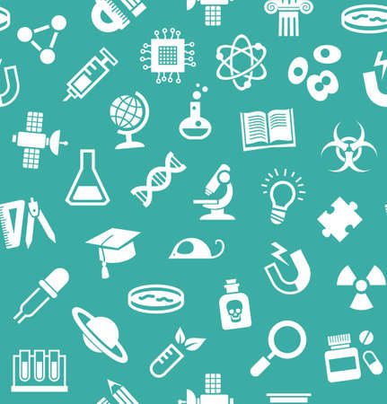 literature: Science, background, seamless, blue-green, vector. White flat icons on a blue-green field. Different types of scientific activities. Colored background. Illustration