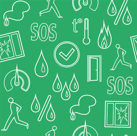 Alarm, background, seamless, fire detectors, humidity, motion, temperature, green, contour. Vector flat background with pictures of alarm for alarm sensors. White line icons on a green field. Illustration