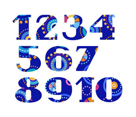 Numbers, fireworks, colorful, vector. Vector numerals with serif. Geometric, abstract figure on a blue background.