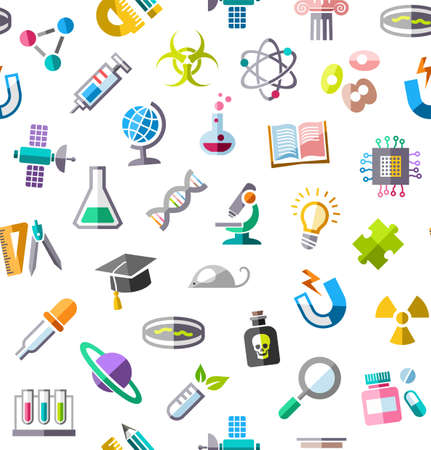 mouse: Science, background, seamless, color, white, vector. Colored flat icons on a white field. Different types of scientific activities. Colored, flat background.