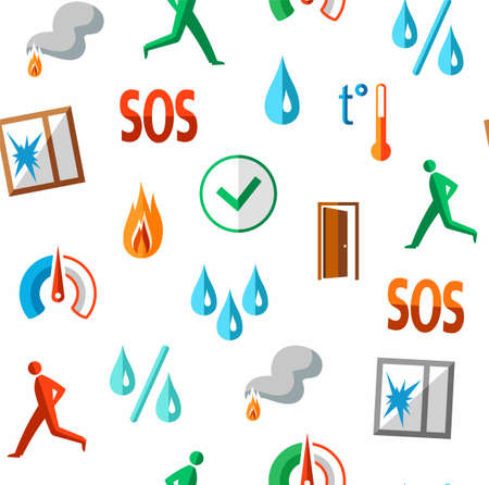 Alarm, pattern, seamless, fire detectors, humidity, motion, temperature, colour, white. Vector flat pattern with pictures of alarm for alarm sensors. Colored icons on a white field.
