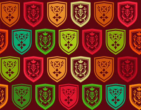 sprig: Emblems, seamless pattern, red green vector. Vector pattern with green, red, orange and yellow coat of arms on a dark red background. The coat of arms depicts twigs and flowers. The coat of arms. Natural pattern. Illustration
