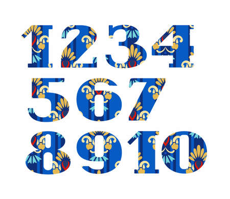 Numbers, gold flowers, vector, blue. Colored, vector figures with serifs. Gold and blue flowers on a white background. Imitation of gold embroidery.