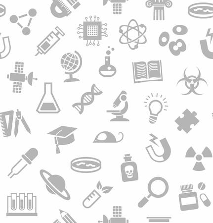 Science, seamless pattern, white, vector. Grey, flat icons on a white field. Different types of scientific activities. Monochrome pattern. Ilustração