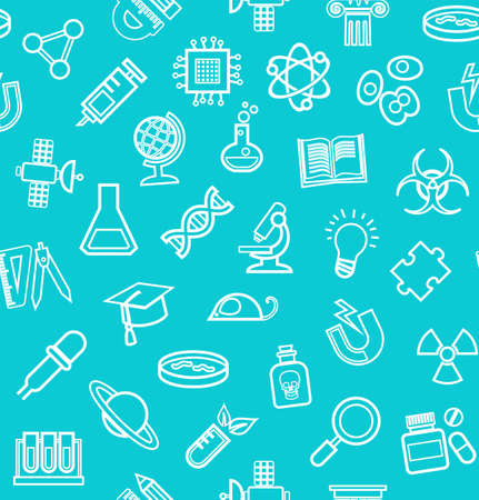 Science, blue-green background, contour icons, monochrome, seamless, vector. White, line the icons on turquoise field. Different types of scientific activities. Vector flat background.