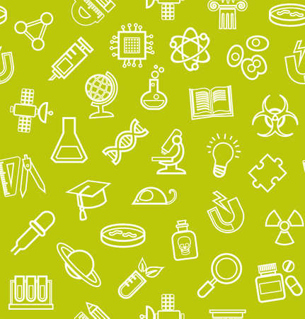 Science, green background, contour icons, monochrome, seamless, vector. White, line icons on a light green field. Different types of scientific activities. Vector flat background.