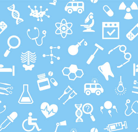 Medicine, blue background, flat, seamless, vector. Medical services specialization. The profession of doctors. Medical instruments. White, flat pictures on a blue field. Vector background. Illustration