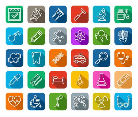 endocrinology: Icons for medicine vector. Medical services specialization. The profession of doctors. Medical instruments. White lines on a colored background with a shadow.